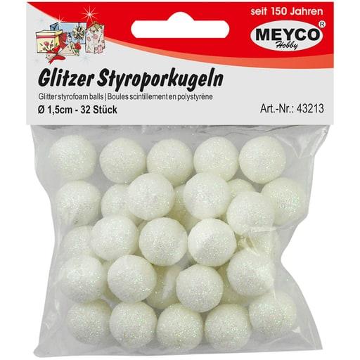MEYCO GLITTER STYROKSIPALLOT VALKOINEN 1