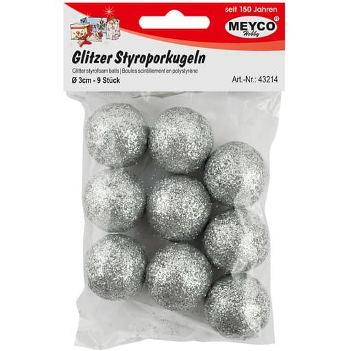 MEYCO GLITTER STYROKSIPALLOT HOPEA 3CM 9KPL