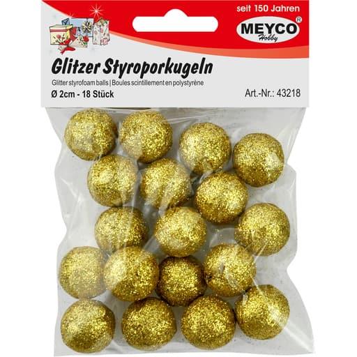 MEYCO GLITTER STYROKSIPALLOT KULTA 2CM 18KPL