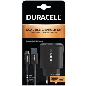 DURACELL DUAL SEINÄLATURI 3A + USB-A - USB-C JOHTO 1