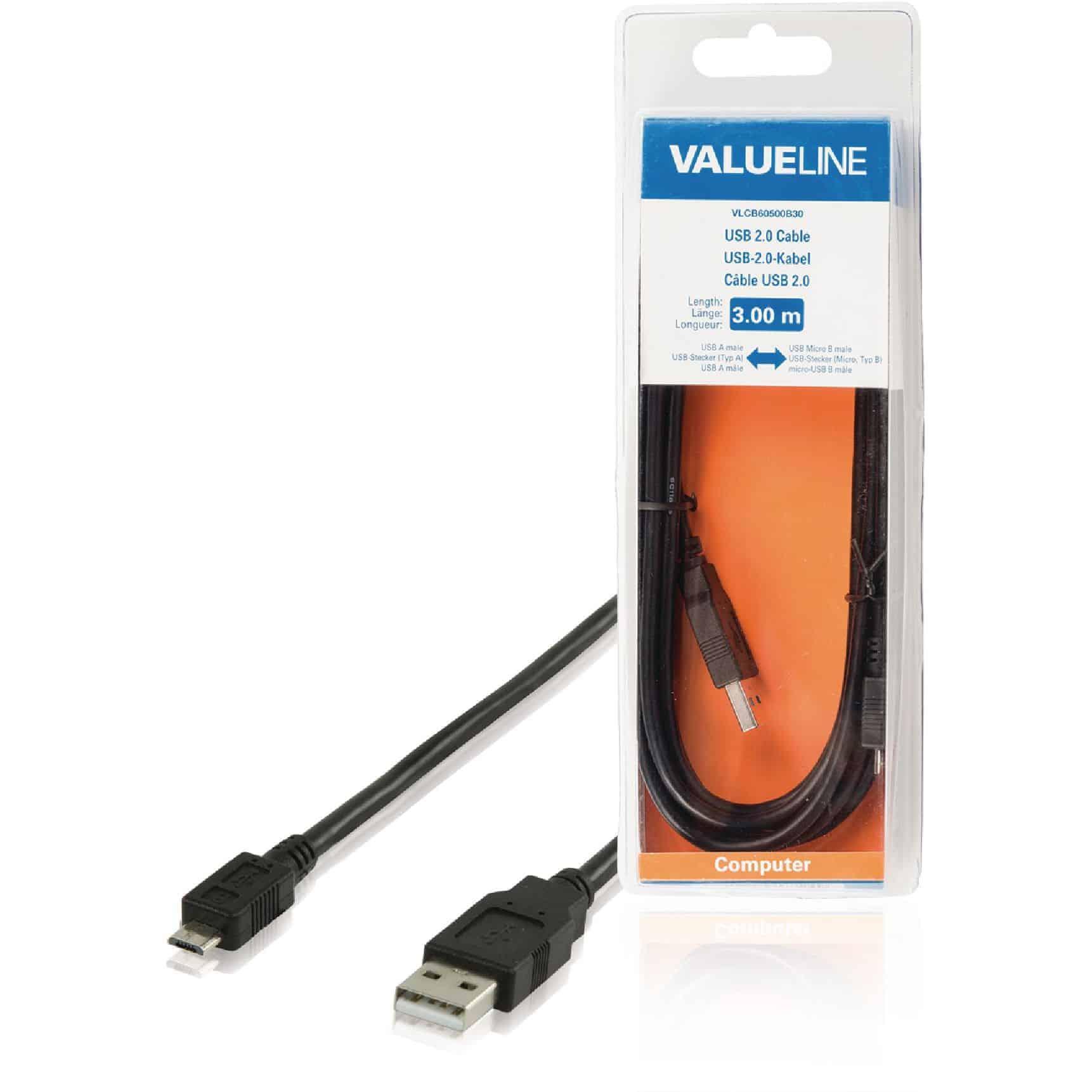 VALUELINE USB 2.0 KAAPELI A UROS - MICRO B UROS 3