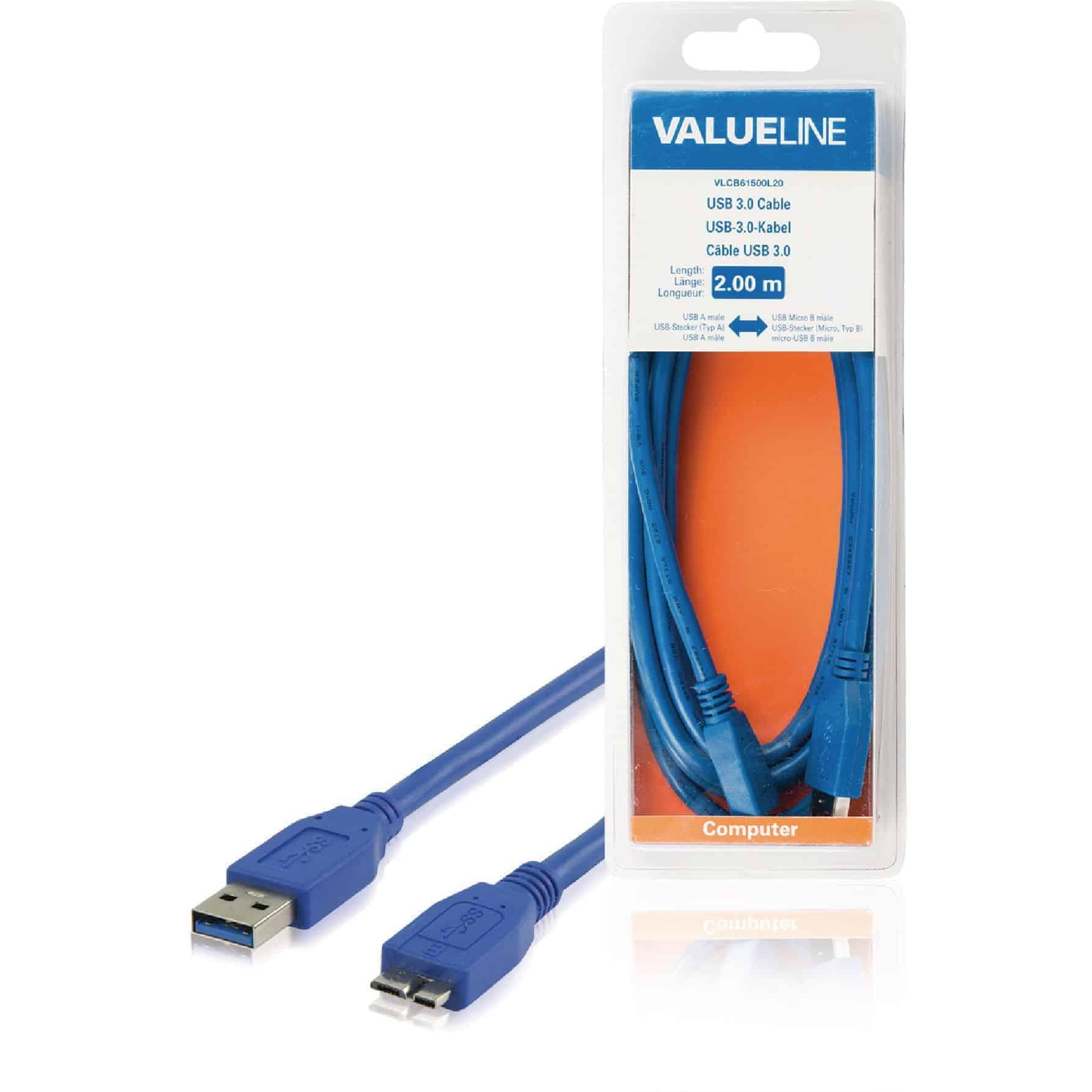 VALUELINE USB 3.0 KAAPELI A UROS - MICRO B UROS 2