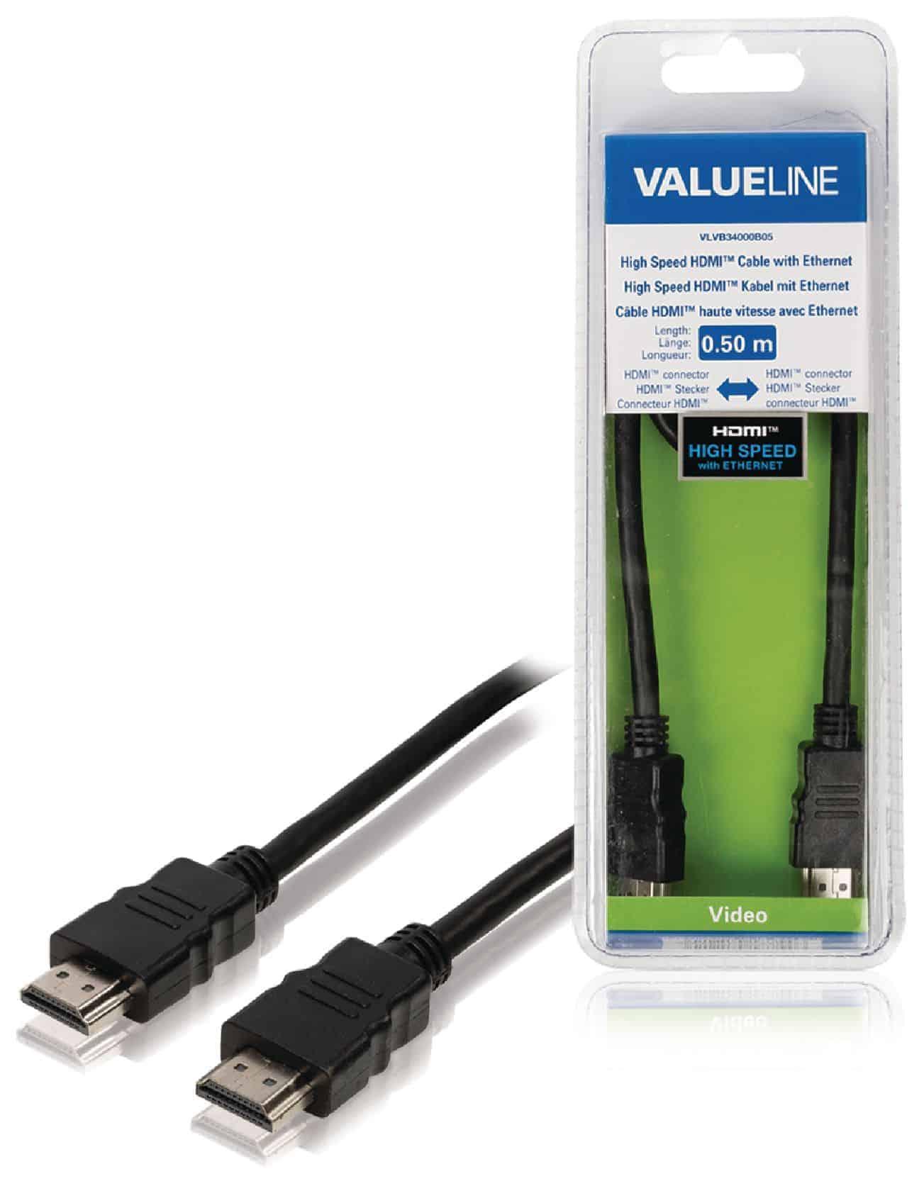 VALUELINE HDMI-KAAPELI HIGH SPEED WITH ETHERNET 0