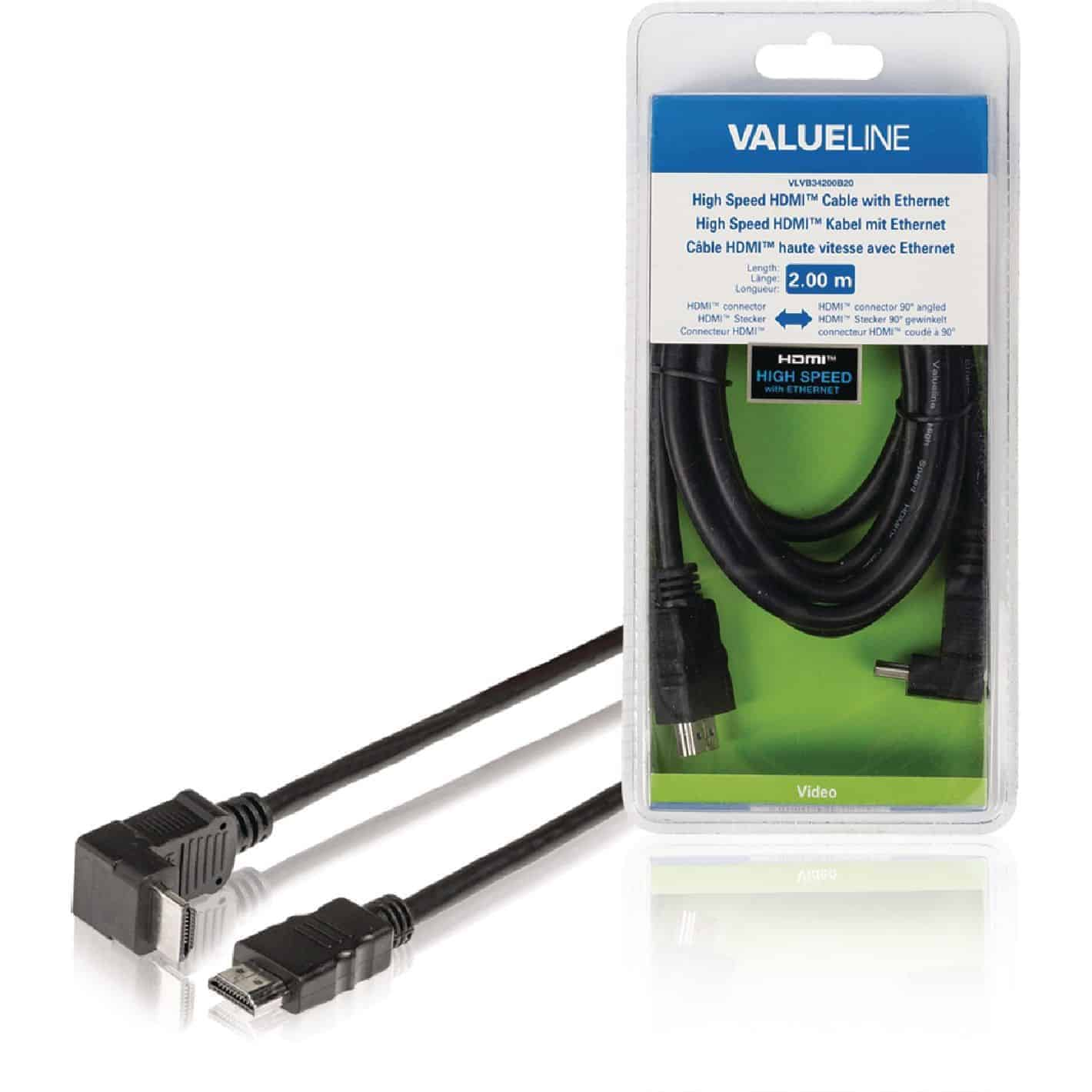 NEDIS HDMI-KAAPELI KULMALIITIN HIGH SPEED WITH ETHERNET 2