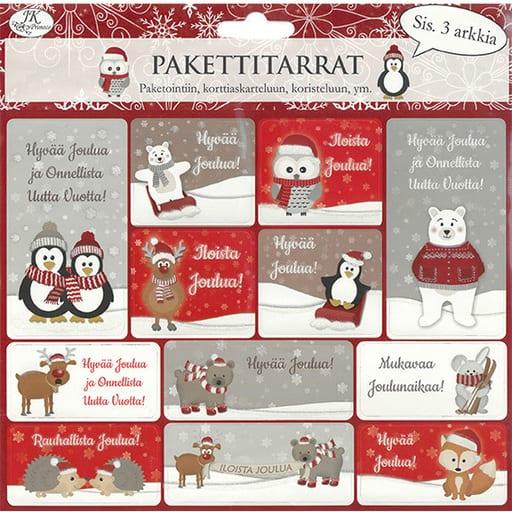 PAKETTITARRA JOULUELÄIMET 3ARKKIA/PKT