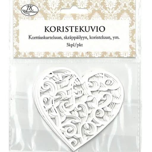 KORISTEKUVIO SYDÄN VALKOINEN 5KPL