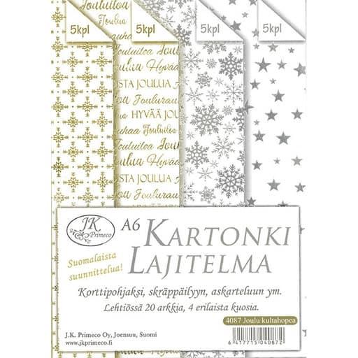 KARTONKILAJITELMA JOULU KULTA/HOPEA A6 20KPL