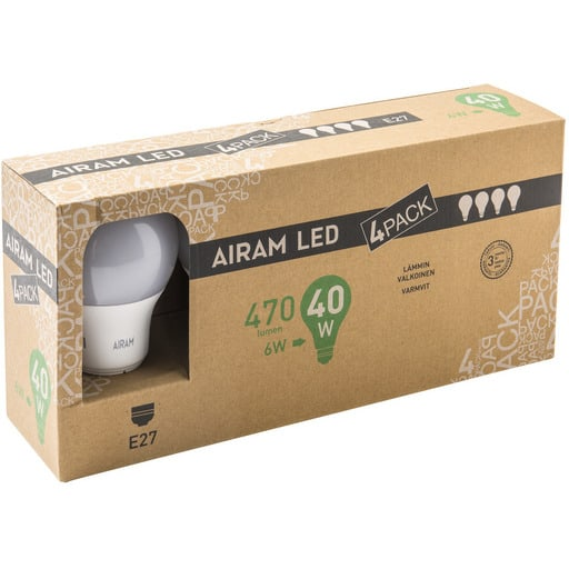 AIRAM LED 40 VAKIO E27 2700K 4-PACK