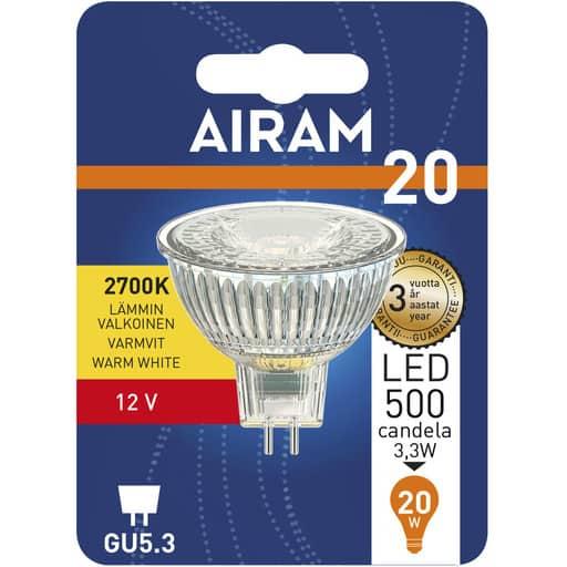 AIRAM LED 20 KOHDE GU5.3 MR16 12V 2700K