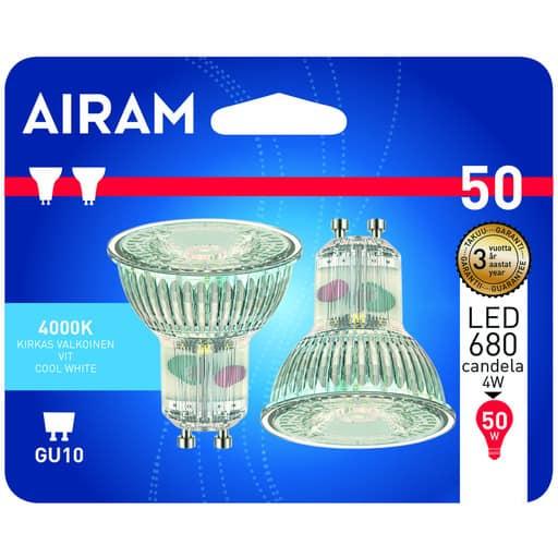 AIRAM LED 50 KOHDE GU10 4000K 2KPL