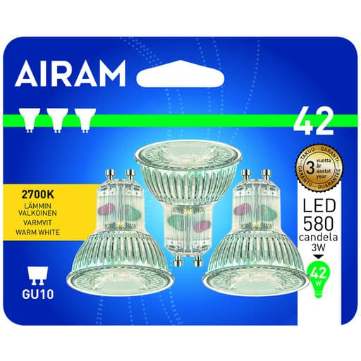 AIRAM LED 42 KOHDE GU10 2700K 3KPL