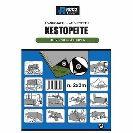 ROCO KESTOPEITE 8x12M VIHREÄ/HARMAA