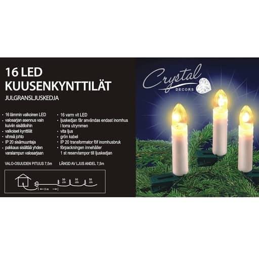 CRYSTAL KUUSENKYNTTILÄT 16LED LÄMMIN VALKOINEN