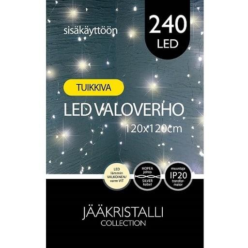 JÄÄKRISTALLI 240LED VALOVERHO LÄMMIN VALKOINEN TUIKKIVA IP20