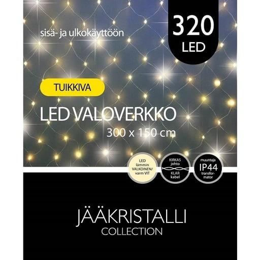 JÄÄKRISTALLI 320LED VALOVERKKO LÄMMIN VALKOINEN TUIKKIVA 3x1