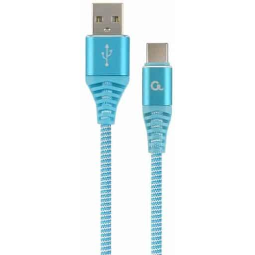 PUNOTTU LATAUS- JA DATAKAAPELI USB-C TURKOOSI 2